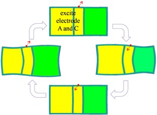 Operation modes of the novel piezoelectric actuator with asymmetric electrodes
