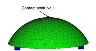 FEM model of hemisphere transducer: a) Side view, b) Bottom view