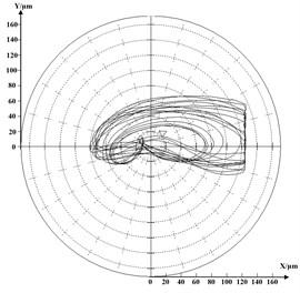 Shaft's orbit diagram when rubbing