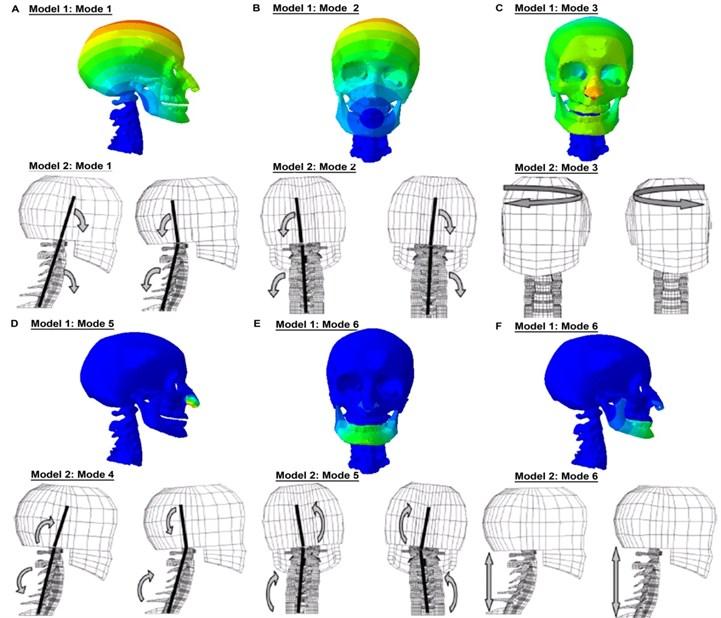 (Still Instance No.2) Comparison of the mode shapes with Meyer et al. [22]'s FE head-neck model