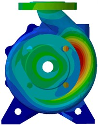 Vibration acceleration at BPF under design condition:  a) for with sidewalls b) for without sidewalls