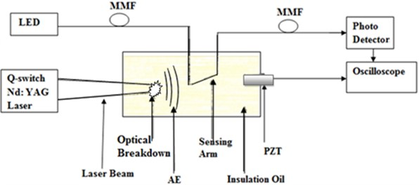 Experimental setup of FO and PZT sensors dipped in an oil tank