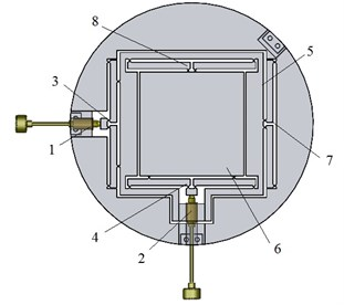 Monolithic structure (centring platform):  1, 2 – ultra-fine adjustment screws; 3, 4 – motion reduction mechanisms; 5 – x axis moving platform;  6 – y axis moving platform; 7, 8 – guide mechanisms