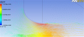 Flow velocity for different opening ratios in rounded valves