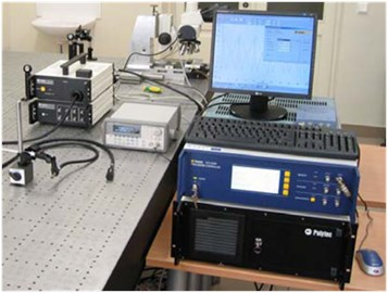 Experimental setup: a) and its schematic representation, b) for measurement of amplitude-frequency characteristics and trajectories of 2D vibrations with respect to the analysed rotary table
