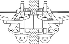 The locking mechanism inserts pins into cut-open nuts