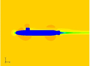 Comparison of velocity distributions on symmetry plane of the underwater vehicle  with two kinds of tail wings