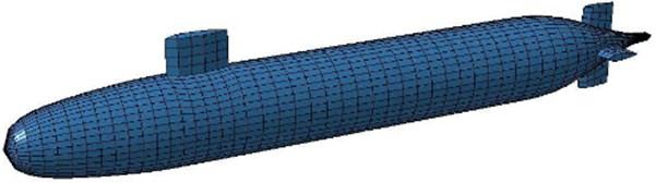 Boundary element model of the underwater vehicle