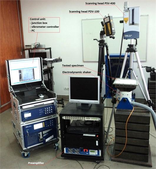 Experimental setup during the modal analysis