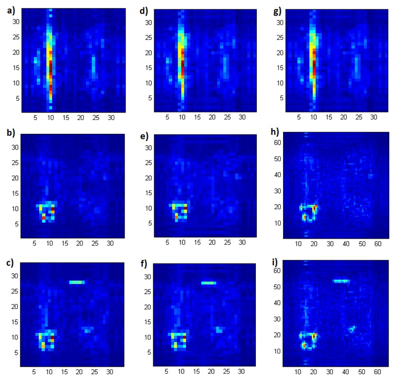 Results of identification of crack and spatial damages in laminated composites using the algorithms based on a)-c) DWT, d)-f) FrWT, g)-i) IUFrWT based on experimental data