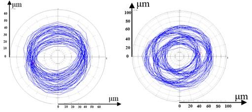Rotor's orbit in vibration area