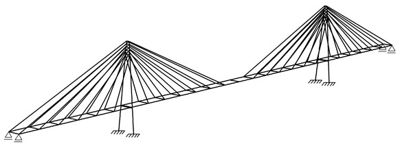 FEM model of cable-stayed bridge