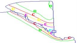 Temperature distribution for a unit of saw chip development process.  Temperature (C): A=20.0, B=118, C=217, D=315, E=413, F=512, G=610, H=708, I=807