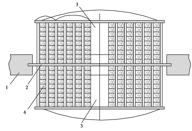 Adaptive mirror: 1 – supports, 2 – base, 3 – mirrors, 4 – axial stacks