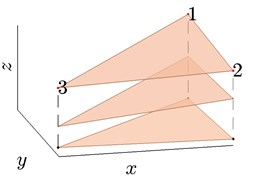 Three adjacent bores in a) forms a prism which consists of smaller prisms as shown in  b) limited by the positions of the samples of peat in each bore
