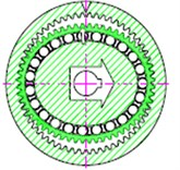 The operating positions of a harmonic drive [1]: a) the elliptical shape of the wave generator causes the teeth of the flexspline to engage the circular spline at two regions at opposite ends of the major axis of the ellipse, b) as the wave generator rotates the zone of tooth engagement travels with the major axis of the ellipse, c) for each 180° clockwise movement of the wave generator the flexspline moves counterclockwise by one tooth relative to the circular spline, d) each complete clockwise rotation of the wave generator results in the flexspline moving counterclockwise by two teeth from its previous position relative to the circular spline