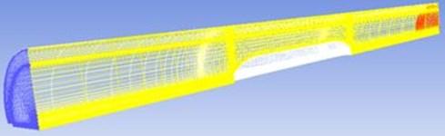 Flow field mesh of tunnel-train