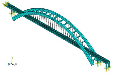 Finite element models of Zhaoqing Xijiang River Bridge with different inside oblique angles