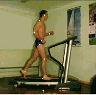 Motion analysis by 3D view analysis system: a) recording of human motion by special facilities, b) computer model, c) example of motion analysis