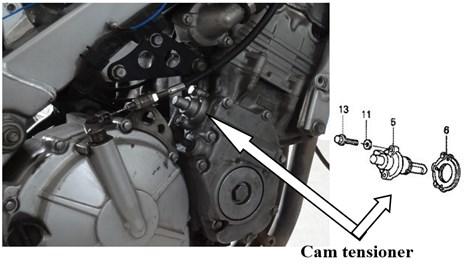 Location of the cam tensioner installation