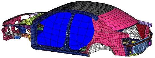 Finite element model of acoustic-structure coupling