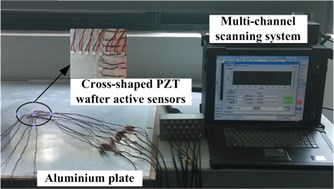 Experiment setup and the damages position (unit: mm)