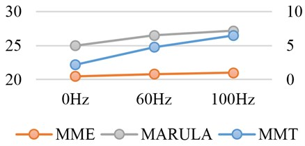 Relationship between MMT, MME, MRULA and vibration frequency