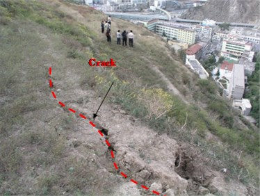 Two cracks in the back scarp of the slope