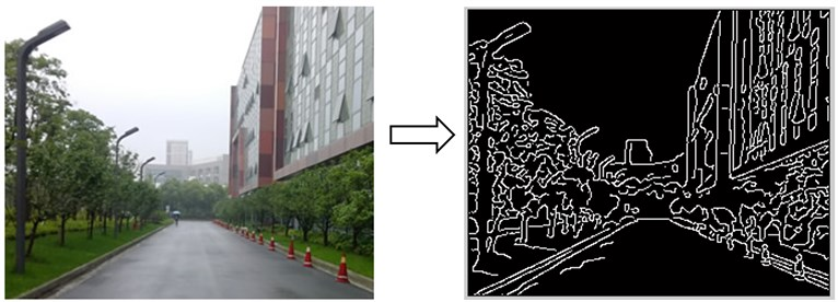 Edges highlighted using the canny edge detection algorithm