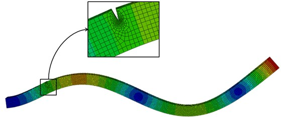 FE model of cantilever beam with zoomed-in crack