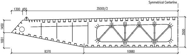 Standard section of steel box deck of Ma'anshan Yangtze River bridge (unit: mm)