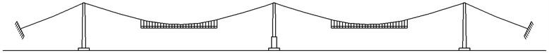 The 40 % erection state of the stiffening girder for Ma'anshan Yangtze River bridge