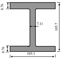 Tested beam: a) sketch of the beam; b) cross section of the beam