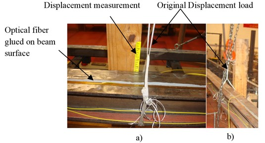 Displacement applied setup: a) measurement of displacement; b) appliance of displacement