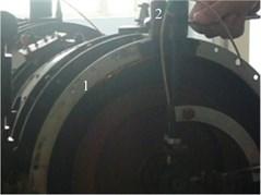 Thin wall turbine casing single-point rub experiment  (1-rub spark 2-tighten bolt rub)