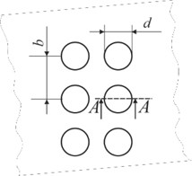 Representation of geometric parameters of Braille and tactile relief elements: a) top view of the Braille element: d – diameter of the Braille dot, b – distance between Braille dots; b) side view of Braille on polymeric material (A-A): h – thickness of polymeric material, h1 – height of the Braille dot;  c) the surface of the graphical image; d) profiles of surface elements (B-B): h – thickness of the polymeric material, h1 – height of the graphical element, d – width of the graphical element