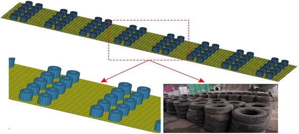 Model of the composite protective structure of steel-rubber tires