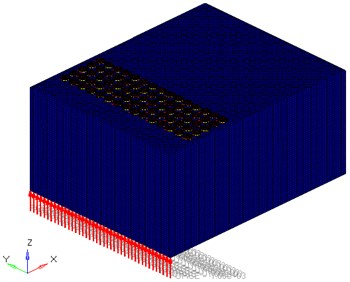 Phononic crystal cavity model after FEM is divided.  The red arrows represent the force (1000 N, z direction)