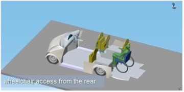 Visualisation of ECO-car functionality: a) general vehicle structure, b) possibilities of entering to the vehicle, c), d) a placement of disabled person (driver) and location of four people (including one disabled person), e), f) entering of a manual wheelchair and an electric wheelchair through the rear ramp,  g), h) locating one passenger in the electric wheelchair and the remaining three non-disabled passengers