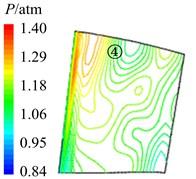 Aerodynamic pressure contour maps of rotor blade pressure surface