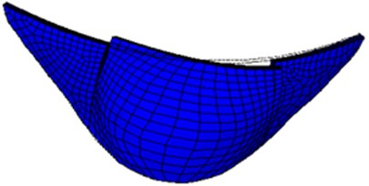 Second-order mode shape of small numerical arch dam model