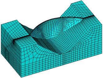 FE Mesh of arch dam model