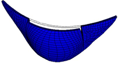 First-order mode shape of large numerical arch dam model
