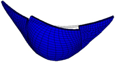 Second-order mode shape of large numerical arch dam model
