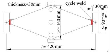 Schematic size of the rhombic mild  steel plate damper