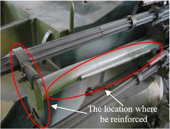 The structure of the cradle before and after the stiffness was reinforced