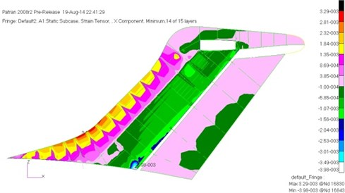 The maximum compressive strain of the vertical tail before optimization