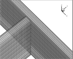Meshing the computational grid within the intake range in plan a) and 3d mode b)