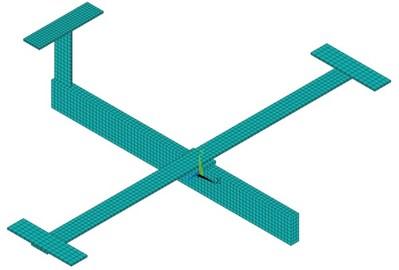 a) 3D brick-element model and b) the beam model
