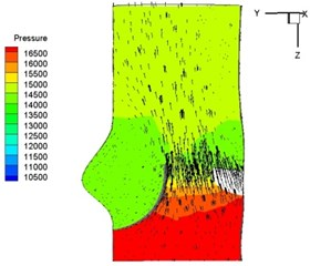 Pressure and velocity distribution
